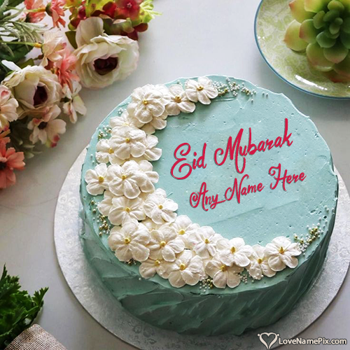 Write Name on Special Eid Mubarak Cake For Greeting Picture