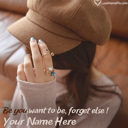 Stylish Girl In Cap Hidden Face FB With Name