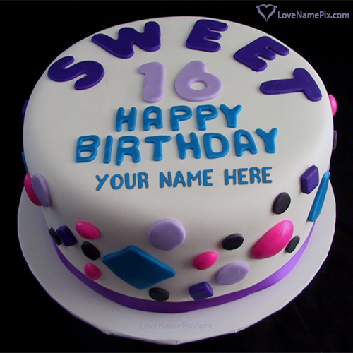 Write Name on Sweet 16th Birthday Cake For Girls Picture