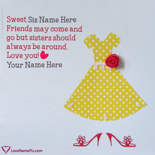 Write Name on Sweet Girly Love Card For Sister Picture