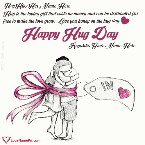 Write Name on Sweet Happy Hug Day Wishes Picture