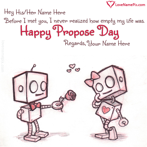 Write Name on Sweet Propose Day Messages Picture