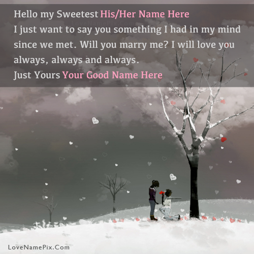 Write Name on Sweet Romantic Propose Picture