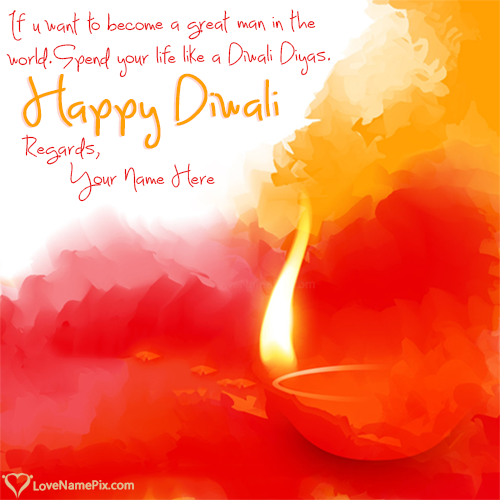 Write Name on Thoughts On Diwali In English Quotes Picture