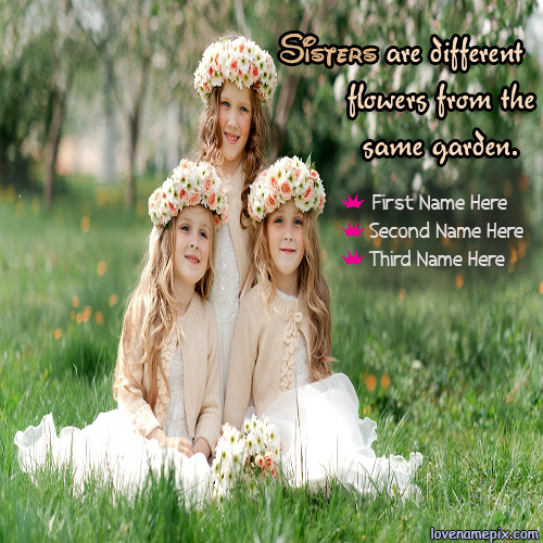 Write Name on Three Princess Sisters Picture