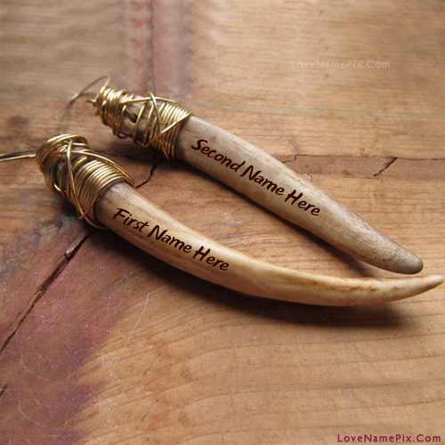 Tooth Earrings Couple With Name