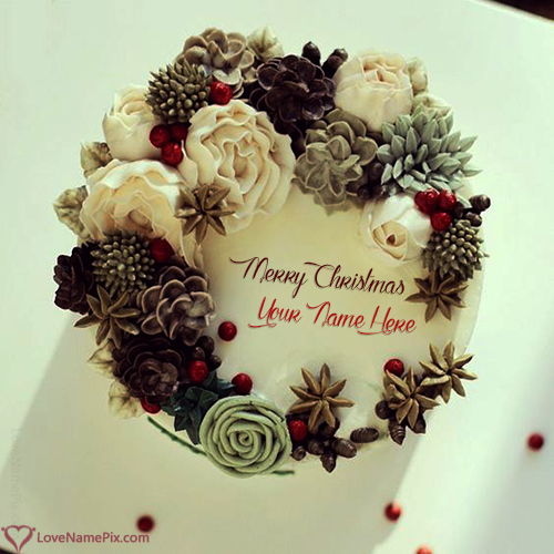 Traditional Merry Christmas Cake Edit With Name