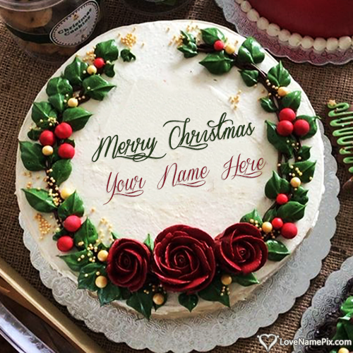 Write Name on Unique Merry Christmas Cake Desgins Picture
