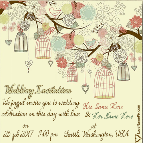 Write Name on Unique Wedding Invitation Wording Picture