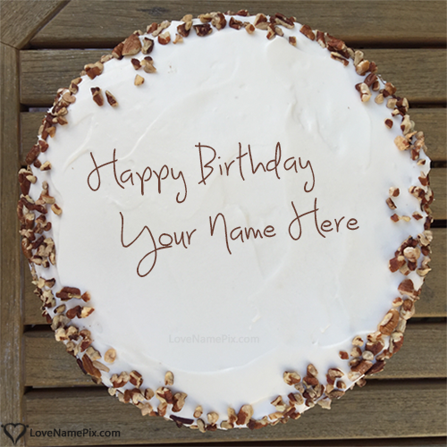 Write Name on Walnuts Decorated Cream Birthday Cake Picture