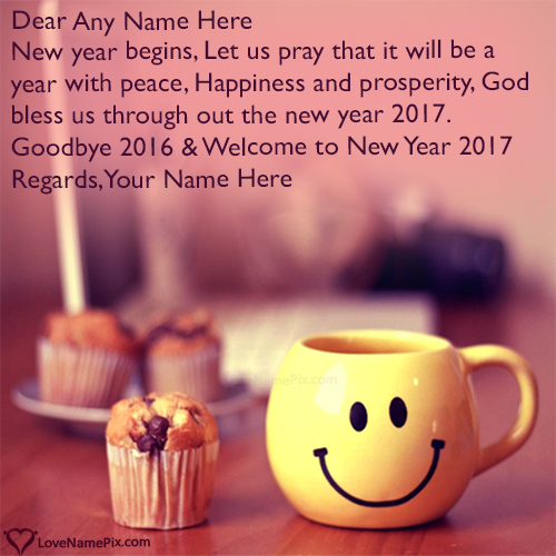 Write Name on Welcome 2017 Best Wishes Quotes Picture