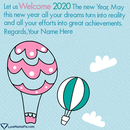 Write Name on Welcome 2020 Best Wishes Quotes Picture