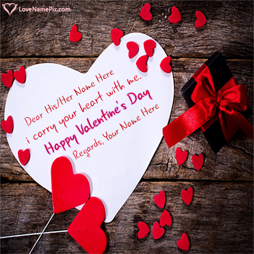 Write Name on White Red Hearts Valentine Day Gift Picture