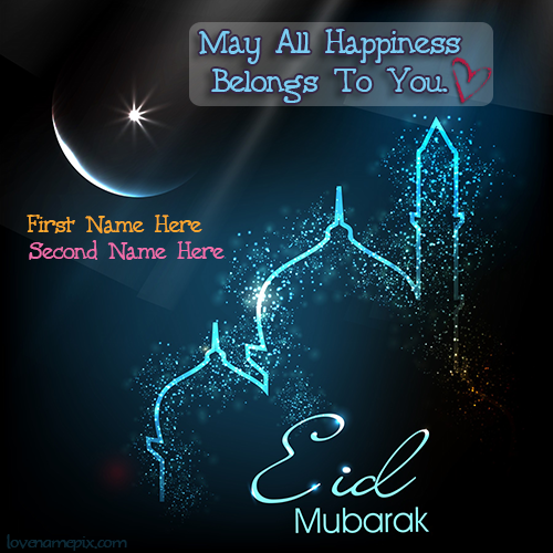 Write Name on Wishes Eid Happiness Picture