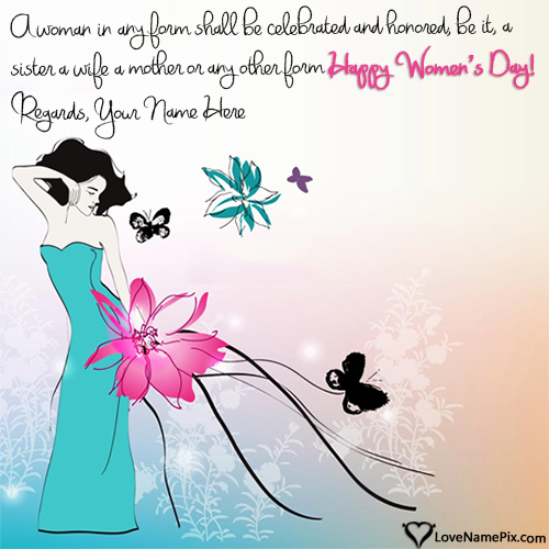 Write Name on Womens Day Wishes Greeting Cards Picture