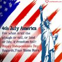 Write name on 4th July Independence Day Greetings USA Picture