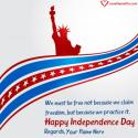 Write name on American Independence Day Quotes Sayings Picture