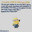 Write name on Goodbye 2018 Hello 2019 Cute Wishes Picture
