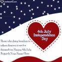 Write name on Happy Fourth Of July Wishes Messages Picture