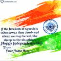Write name on Happy Indian Independence Day Picture