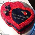 Write name on Red Heart Valentine Cake For Couple Picture