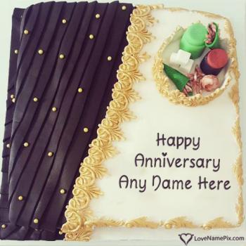 1st Happy Wedding Anniversary Cake With Name