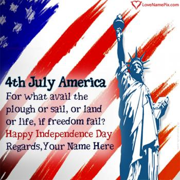4th July Independence Day Greetings USA With Name