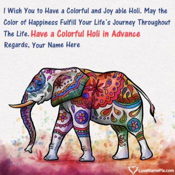 Advance Happy Holi Wishes Wallpaper With Name