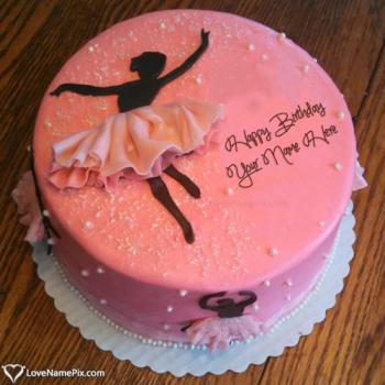 Ballerina Silhouette Cake For Birthday Girl With Name