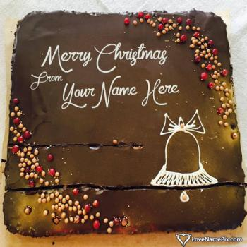 Beautiful Chocolate Cake For Christmas With Name