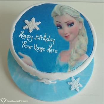 Write name on Beautiful Frozen Elsa Birthday Cake photo