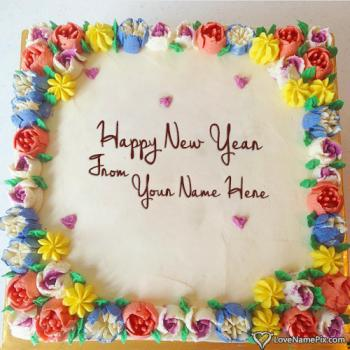 Write name on Beautiful Happy New Year Wish Cakes pictures