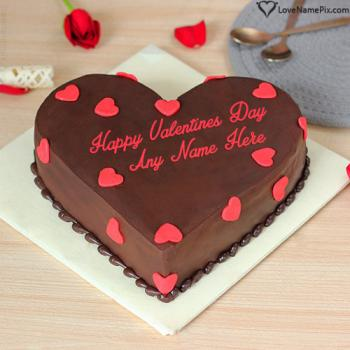 Beautiful Hearts Happy Valentine Cake For Lover With Name