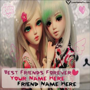 Write friend name on Best Friends Cute Girls images