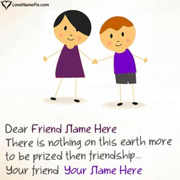 Write friend name on Best Friendship Messages images