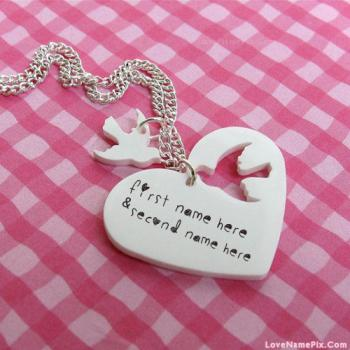 Write name on Bird And Heart Necklace images