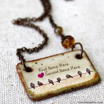 Write name on Birds Couple Love Pendant images