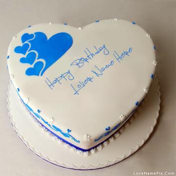 Write Name On Blue Hearts Birthday Cake for lovers