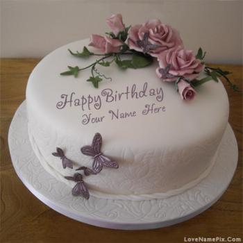 Butterfly Roses Birthday Cake With Name