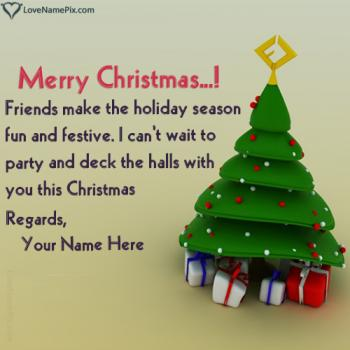 Write name on Christmas Greeting Messages For Friends images