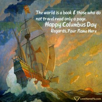 Columbus Day Greeting Cards With Name