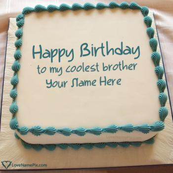 Write name on Coolest Happy Birthday Cake For Brother photo