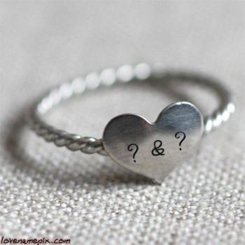 Couple Letters Heart Ring With Name