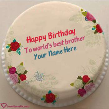 Write Name On Create Birthday Cake For Brother Online