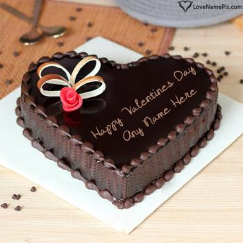 Create Chocolate Heart Cake For Valentine Day With Name
