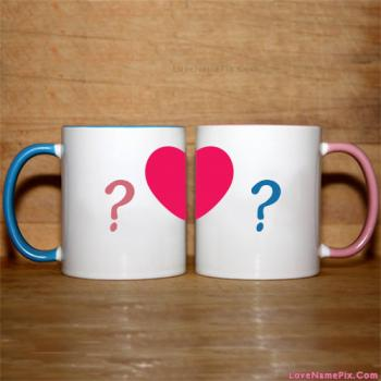Write name on Cups Made Couple Heart love images