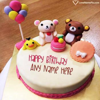 Cute Cartoon Kids Birthday Cake With Name
