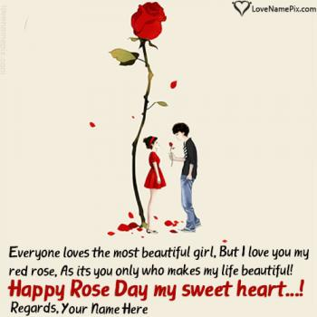 Cute Couple Happy Rose Day Greetings Card Name Picture