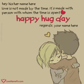 Cute Couple Hug Day Quotes Name Picture