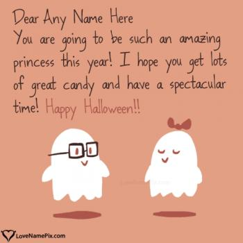 Write name on Cute Halloween Quotes Wishes images